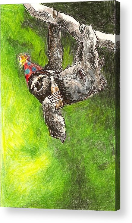 Kristen Bell Acrylic Print featuring the drawing Sloth Birthday Party by Steve Asbell