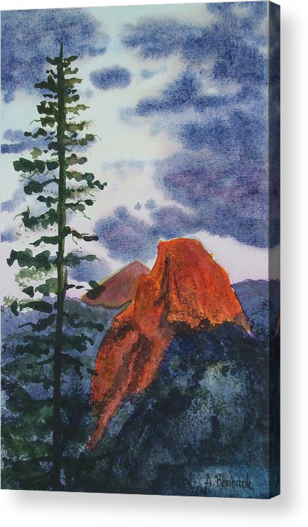 Yosemite Acrylic Print featuring the painting Sunset At Half Dome by Ally Benbrook