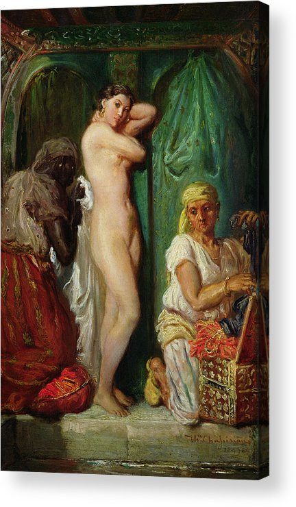 The Acrylic Print featuring the painting The Bath In The Harem by Theodore Chasseriau