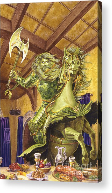 Fine Art Acrylic Print featuring the painting The Green Knight by Melissa A Benson