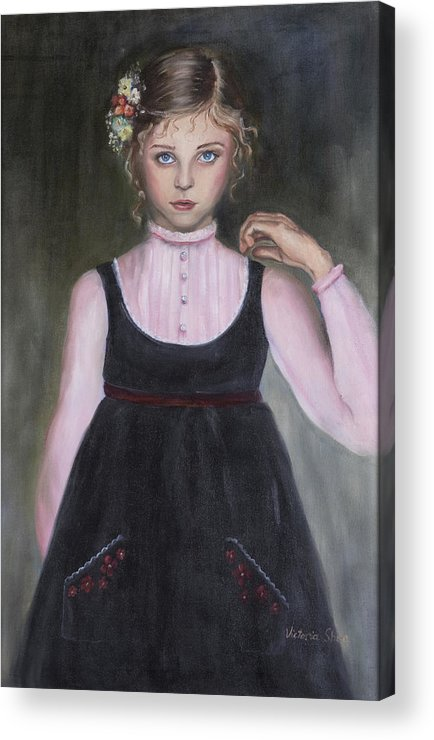 Portrati Acrylic Print featuring the painting The Velvet Jumper by Victoria Shea
