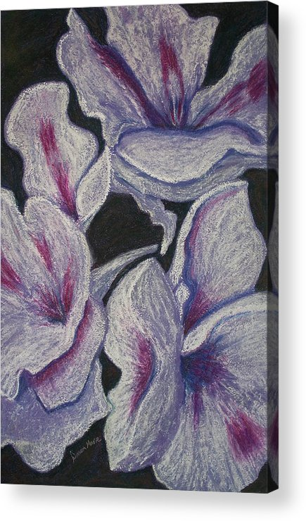 Floral Acrylic Print featuring the painting Three White Flowers by Dawn Marie Black