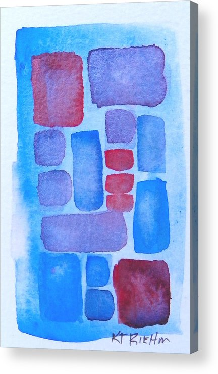 Abstract Acrylic Print featuring the painting Tiles 4 by Karen Riehm