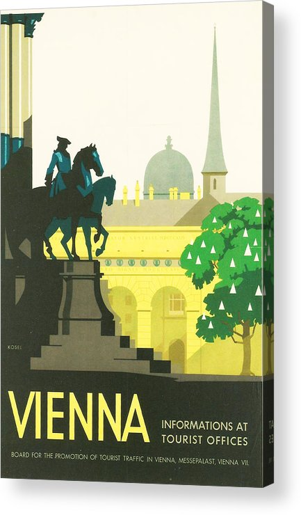 Vintage Travel Acrylic Print featuring the digital art Vienna by Georgia Fowler