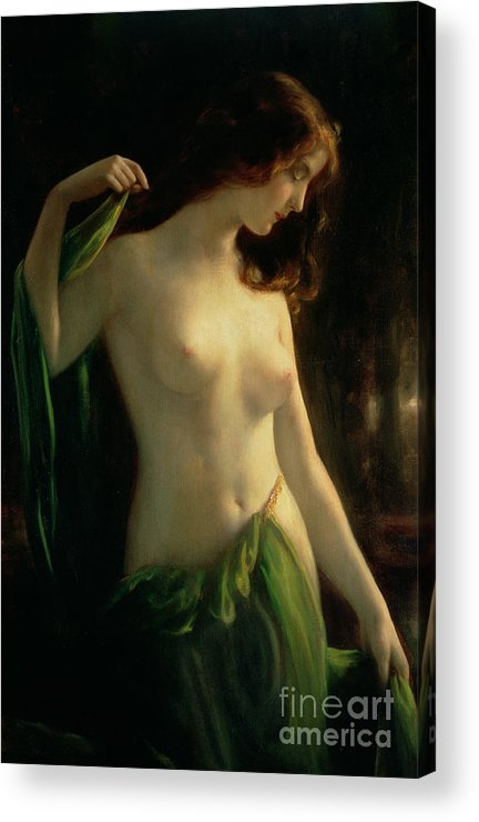 Water Nymph Acrylic Print featuring the painting Water Nymph by Otto Theodor Gustav Lingner