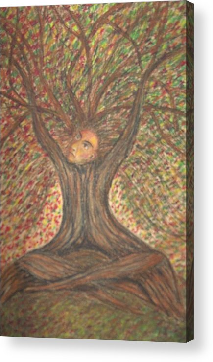 Tree Surreal Lanscape Portrait Acrylic Print featuring the painting What Now by Sally Van Driest