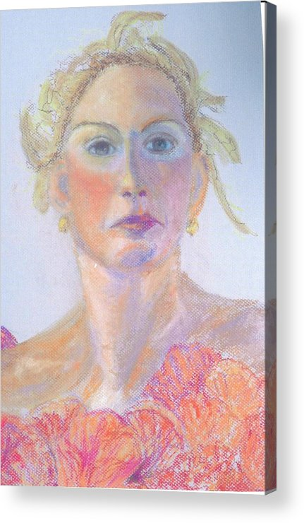 Portrait Acrylic Print featuring the painting Woman In A Red Dress by Deena Greenberg