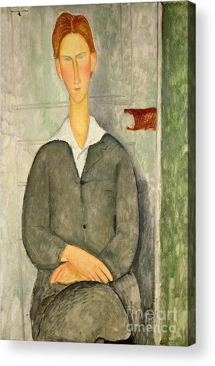 Young Acrylic Print featuring the painting Young Boy With Red Hair by Amedeo Modigliani