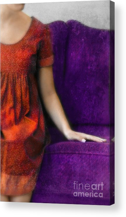 Woman Acrylic Print featuring the photograph Young Woman In Red On Purple Couch by Jill Battaglia