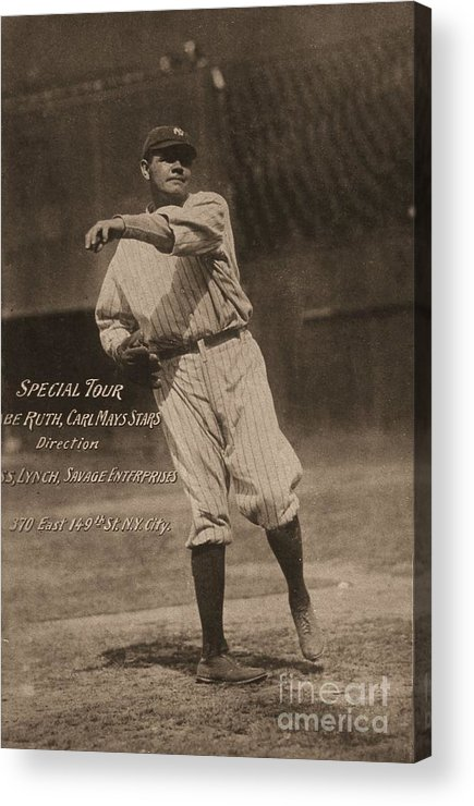 People Acrylic Print featuring the photograph Babe Ruth Special Tour Postcard by Transcendental Graphics