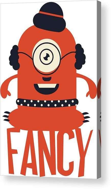Cartoon Acrylic Print featuring the digital art Fancy Monster by Passion Loft