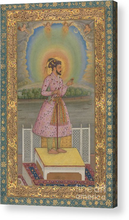Indian Acrylic Print featuring the painting Shah Jahan On A Terrace by Chitarman