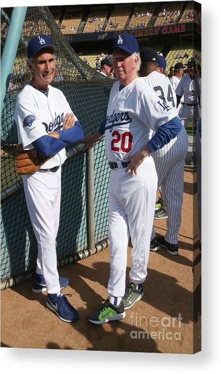 Sandy Koufax Acrylic Print featuring the photograph Sandy Koufax And Don Sutton by Stephen Dunn