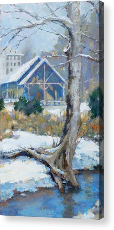 Edwin Warner Park Acrylic Print featuring the painting A Winter Walk In The Park by Sandra Harris