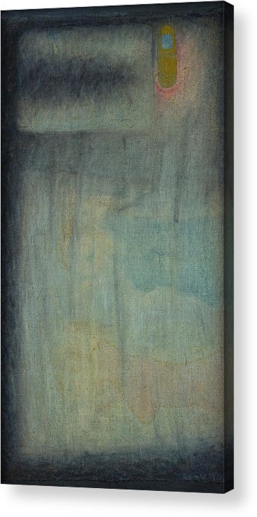 Bed Acrylic Print featuring the painting Bed With Cellphone by Oni Kerrtu