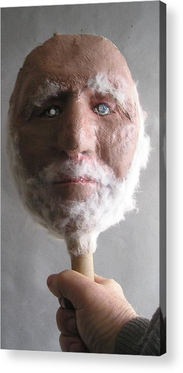 Coot.geezer Acrylic Print featuring the sculpture Coot On A Stick by Roger Swezey