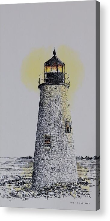 New England Lighthouse Seascape Landscape Pen & Ink Watercolor Coastline Connecticut Acrylic Print featuring the painting Light On The Sound by Tony Ruggiero