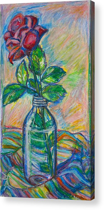 Still Life Acrylic Print featuring the painting Rose In A Bottle by Kendall Kessler