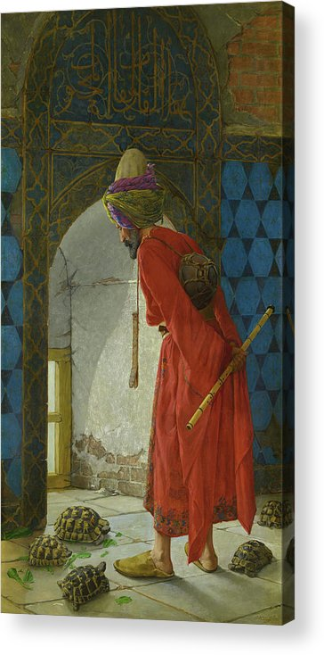 The Tortoise Trainer Acrylic Print featuring the painting The Tortoise Trainer by Osman Hamdi Bey
