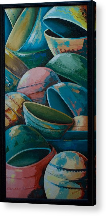 Acrylic Print featuring the painting Calabash by Alfred Awonuga