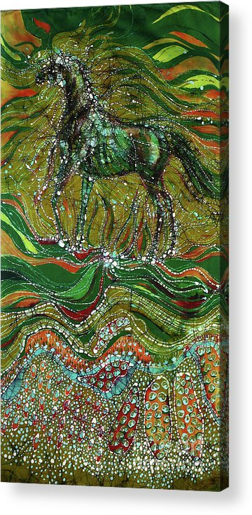 Horse Acrylic Print featuring the tapestry - textile Horse Rises From The Earth by Carol Law Conklin