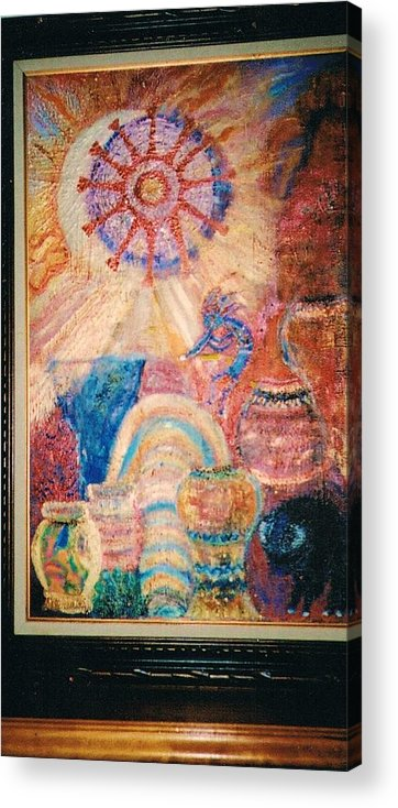 Symbolic Acrylic Print featuring the mixed media Kokopelli Zestful Spirit Dancer by Anne-Elizabeth Whiteway