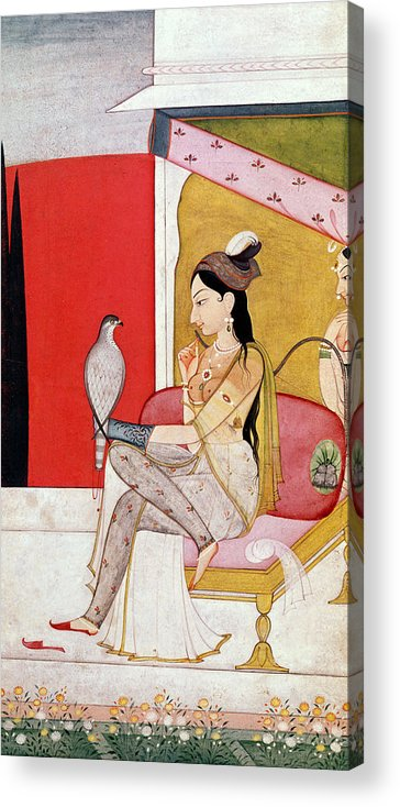 Lady Acrylic Print featuring the painting Lady With A Hawk by Guler School