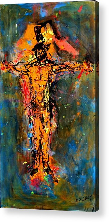 Figurative Acrylic Print featuring the painting Man On A Cross by Paul Freidin