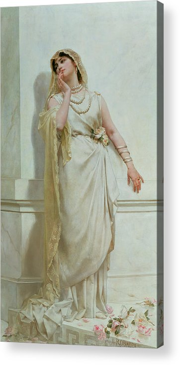 The Acrylic Print featuring the painting The Young Bride by Alcide Theophile Robaudi