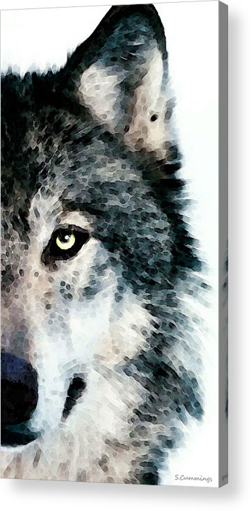 Wolf Acrylic Print featuring the painting Wolf Art - Timber by Sharon Cummings