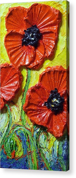 Red Poppy Painting Acrylic Print featuring the painting Red Poppies II by Paris Wyatt Llanso
