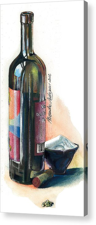 Landscape Acrylic Print featuring the painting Window On A Bottle by Alessandra Andrisani