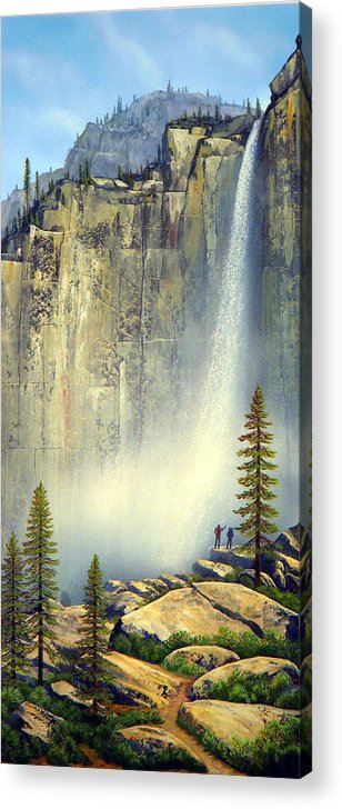 Landscape Acrylic Print featuring the painting Misty Falls by Frank Wilson