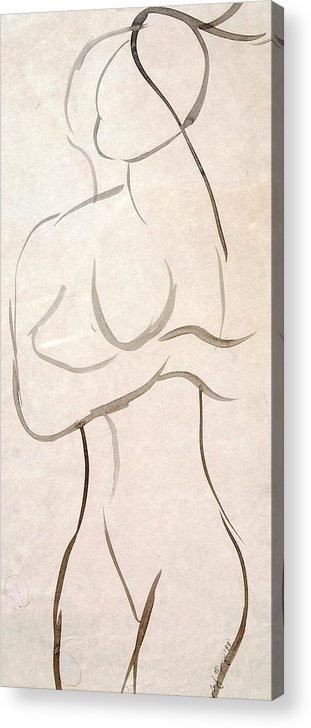 Sketch Acrylic Print featuring the mixed media Gestural Nude Sketch by Angela Murray