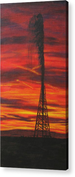 Oil Acrylic Print featuring the painting Hit Oil by Karen Peterson