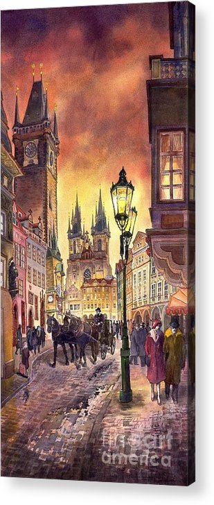 Cityscape Acrylic Print featuring the painting Prague Old Town Squere by Yuriy Shevchuk