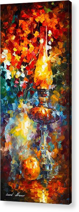 Afremov Painting Palette Knife Art Handmade Surreal Abstract Oil Landscape Original Realism Unique Special Life Color Beauty Admiring Light Reflection Piece Renown Authenticity Smooth Certificate Colorful Beauty Perspective Golden Treasure Flame Acrylic Print featuring the painting Flame by Leonid Afremov