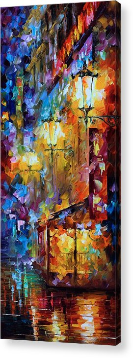 Afremov Painting Palette Knife Art Handmade Surreal Abstract Oil Landscape Original Realism Unique Special Life Color Beauty Admiring Light Reflection Piece Renown Authenticity Smooth Certificate Colorful Beauty Acrylic Print featuring the painting Light Of Night by Leonid Afremov