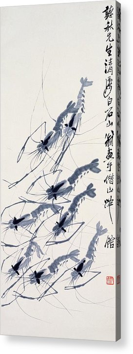Chinese Watercolor On Paper Acrylic Print featuring the painting Shrimp Intriguing by Youme Art