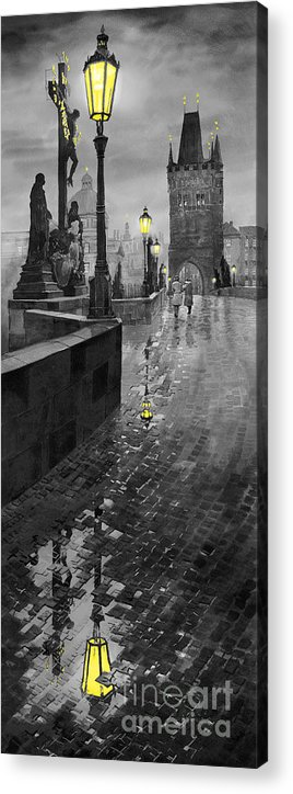 Prague Acrylic Print featuring the painting Bw Prague Charles Bridge 01 by Yuriy Shevchuk