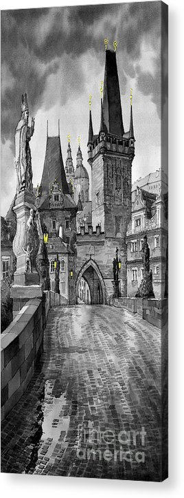 Prague Acrylic Print featuring the painting Bw Prague Charles Bridge 02 by Yuriy Shevchuk