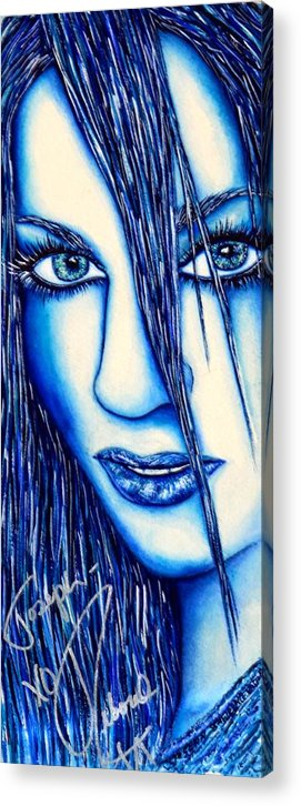 80's Acrylic Print featuring the mixed media Guess U Like Me In Blue by Joseph Lawrence Vasile