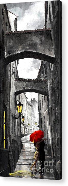 Black Acrylic Print featuring the digital art Love Story by Yuriy Shevchuk