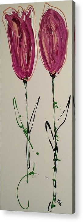 Tulips Acrylic Print featuring the painting Pair Of Pinks by Mia Sinsabaugh