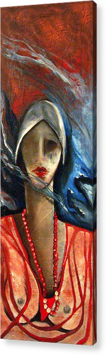 Red Pearls Woman Semi Nude Acrylic Print featuring the painting Red Pearls by Niki Sands
