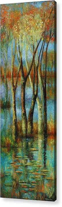 Landscape Acrylic Print featuring the painting Water - Middle Part Of Triptych. by Evgenia Davidov