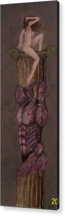 Nude Acrylic Print featuring the painting Woman On Top by Francis Bourque