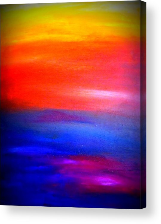 Art Acrylic Print featuring the painting Abstract Painting Original Canvas Art Sunset By Zee Clark by Zee Clark