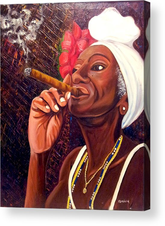Cuban Art Acrylic Print featuring the painting  Cigar Lady by Jose Manuel Abraham