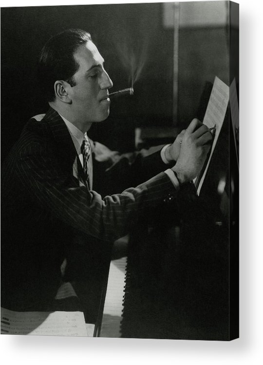 Music Acrylic Print featuring the photograph A Portrait Of George Gershwin At A Piano 1 by Edward Steichen
